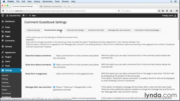 Configuring Comment Guestbook: WordPress and Genesis DIY: Weddings and Special Events