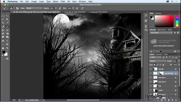 Applying highlights to the trees: Bert Monroy: Dreamscapes - Haunted House