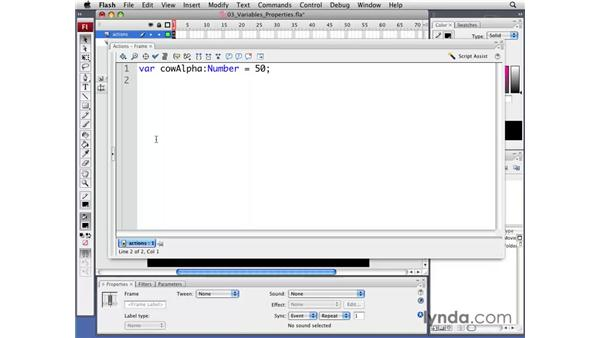 Working with variables and properties: Flash CS3 Professional: Creating Games for the Wii