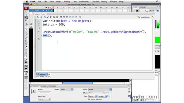 Initializing dynamically created movie clips: Flash CS3 Professional: Creating Games for the Wii