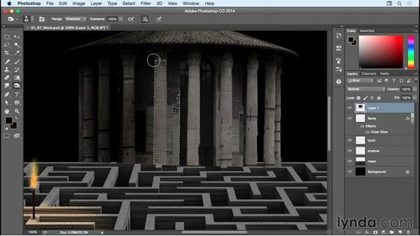 Adding shadows to the building: Bert Monroy: Dreamscapes - The Maze