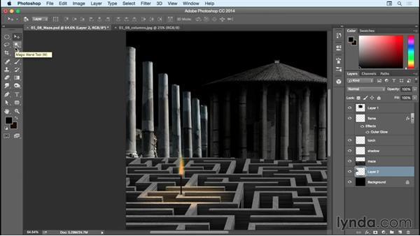 Adding in the columns: Bert Monroy: Dreamscapes - The Maze