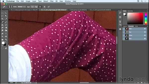 Retouching the pants on girl #1: Bert Monroy: Dreamscapes - The Maze