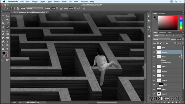 Compositing girl #1 into the maze: Bert Monroy: Dreamscapes - The Maze