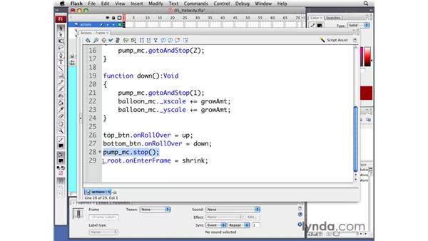 Adding velocity-based interactivity: Flash CS3 Professional: Creating Games for the Wii
