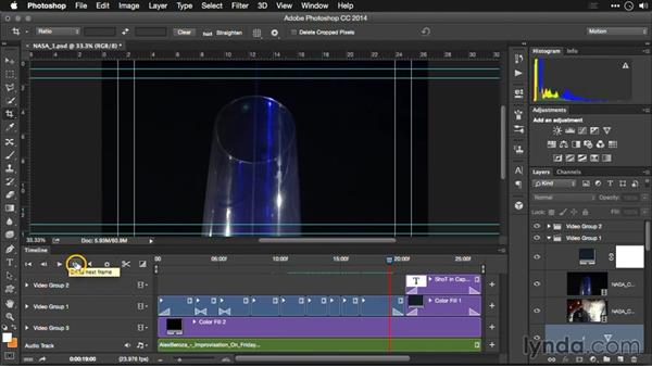 Controlling playback in the Photoshop Timeline: Editing Video and Creating Slideshows with Photoshop CC