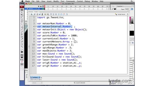 Setting up game variables: Flash CS3 Professional: Creating Games for the Wii