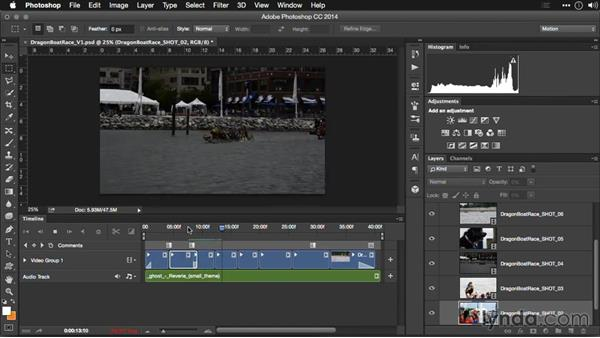 Adding transitions and effects: Editing Video and Creating Slideshows with Photoshop CC