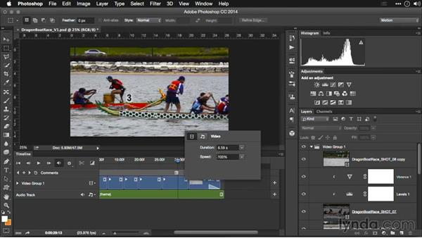 Changing the playback speed of footage: Editing Video and Creating Slideshows with Photoshop CC