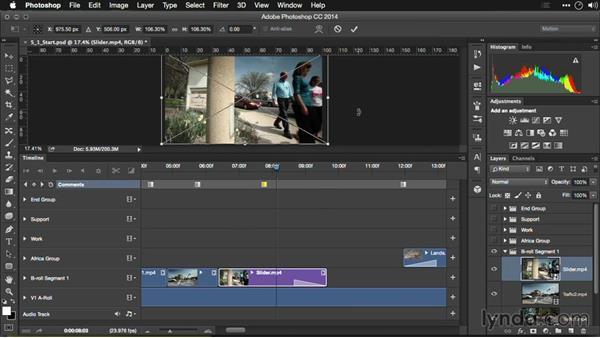 Adjusting volume in clips: Editing Video and Creating Slideshows with Photoshop CC