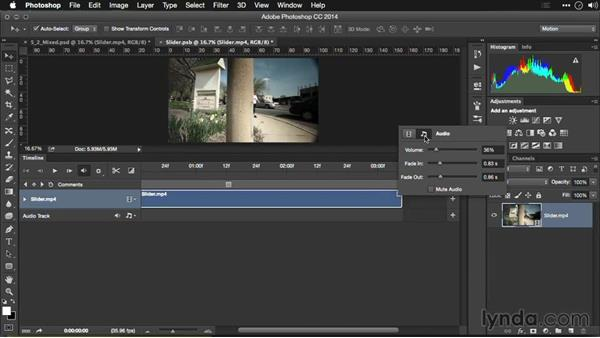 Muting audio: Editing Video and Creating Slideshows with Photoshop CC