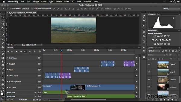 Adding a music bed to your Photoshop timeline: Editing Video and Creating Slideshows with Photoshop CC