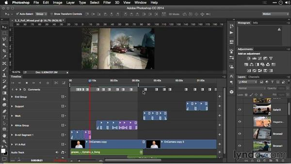 Previewing audio: Editing Video and Creating Slideshows with Photoshop CC
