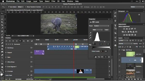 Fixing underexposed footage: Editing Video and Creating Slideshows with Photoshop CC