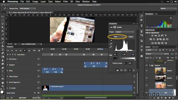 Color balancing a video shot: Editing Video and Creating Slideshows with Photoshop CC