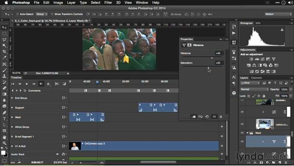 Adding vibrance to a video clip: Editing Video and Creating Slideshows with Photoshop CC