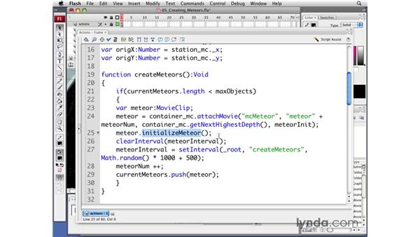 Creating meteors: Flash CS3 Professional: Creating Games for the Wii