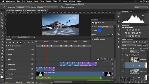 Using photo filters for video footage: Editing Video and Creating Slideshows with Photoshop CC