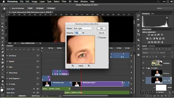 Softening skin for video footage: Editing Video and Creating Slideshows with Photoshop CC