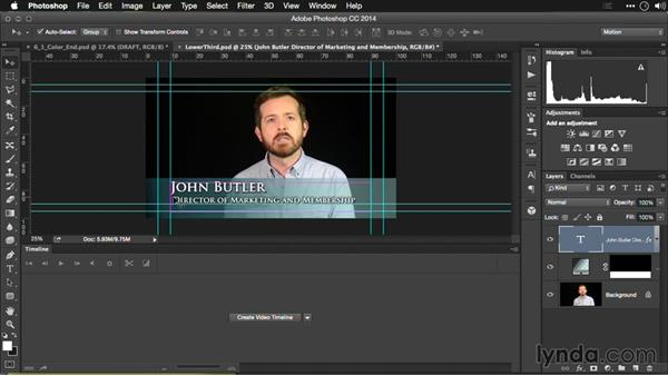Adding a lower-third graphic: Editing Video and Creating Slideshows with Photoshop CC