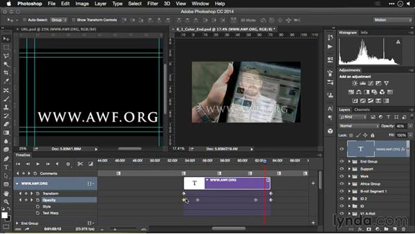 Animating text: Editing Video and Creating Slideshows with Photoshop CC