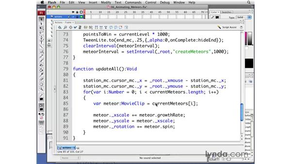 Animating meteors: Flash CS3 Professional: Creating Games for the Wii