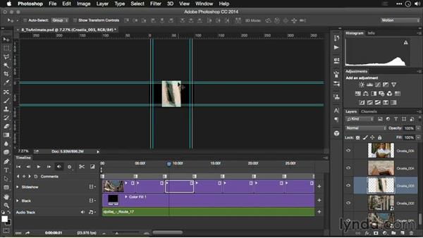 Adding moves to photos in the Timeline: Editing Video and Creating Slideshows with Photoshop CC