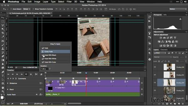Adding transitions to the Timeline: Editing Video and Creating Slideshows with Photoshop CC
