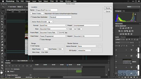 An overview of the Render Video dialog: Editing Video and Creating Slideshows with Photoshop CC