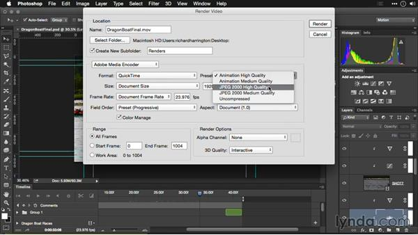 Exporting QuickTime from Photoshop