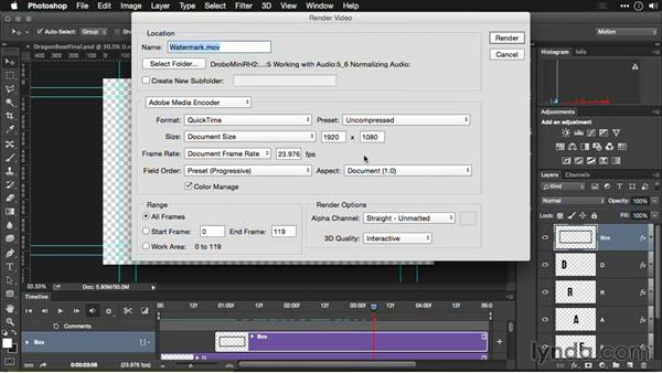 Including an alpha channel in your video: Editing Video and Creating Slideshows with Photoshop CC