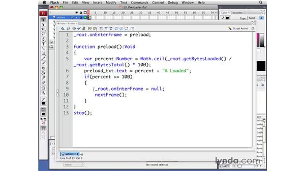 Creating a preloader: Flash CS3 Professional: Creating Games for the Wii