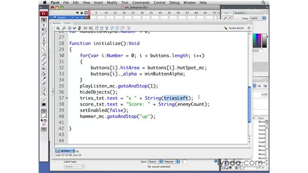 Initializing the game: Flash CS3 Professional: Creating Games for the Wii