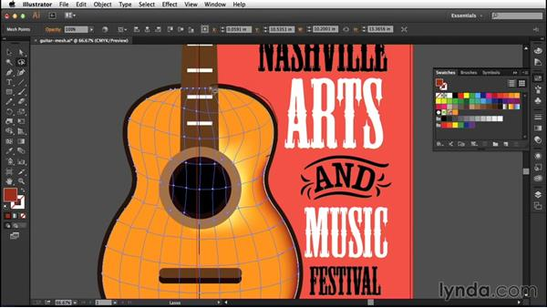 Project: Creating a realistic guitar: Creating Gradient Meshes with Illustrator