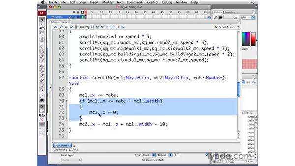 Scrolling the background: Flash CS3 Professional: Creating Games for the Wii