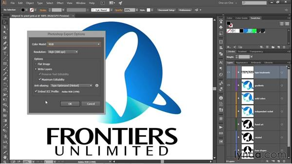 Exporting your logo as a layered PSD file: Creating and Adapting a Logo