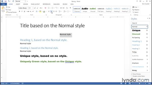 Basing a new style on an existing style: Word 2013: Styles in Depth