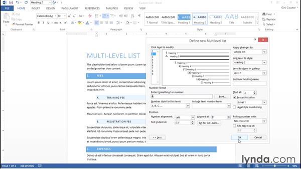 Modifying list styles: Word 2013: Styles in Depth