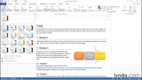 Understanding document formatting and Quick Style sets: Word 2013: Styles in Depth