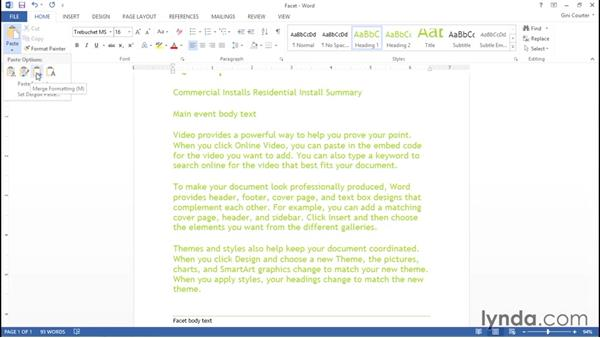 Copying styles while pasting styled text: Word 2013: Styles in Depth