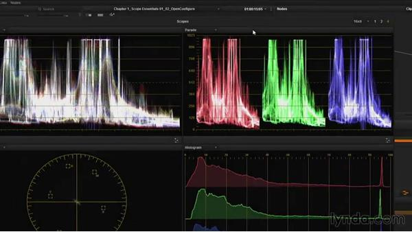 Opening and configuring scopes in Resolve: DaVinci Resolve Guru: Mastering Scopes