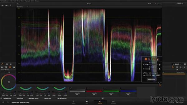 Evaluating color balance with the Waveform: DaVinci Resolve Guru: Mastering Scopes
