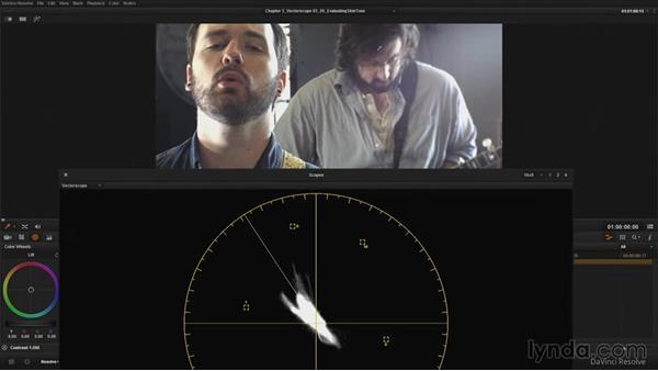 Evaluating skin tone with the Vectorscope: DaVinci Resolve Guru: Mastering Scopes