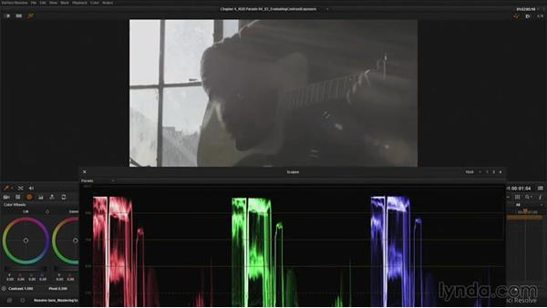 Evaluating contrast and exposure with the RGB Parade: DaVinci Resolve Guru: Mastering Scopes