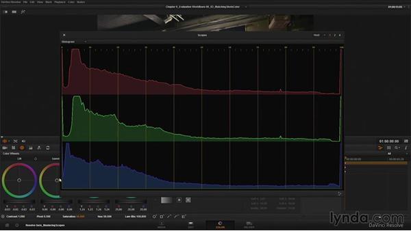 Matching shot color using scopes: DaVinci Resolve Guru: Mastering Scopes