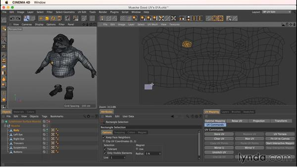Move, Scale, and Rotate attributes for UV components: Up and Running with Bodypaint in CINEMA 4D