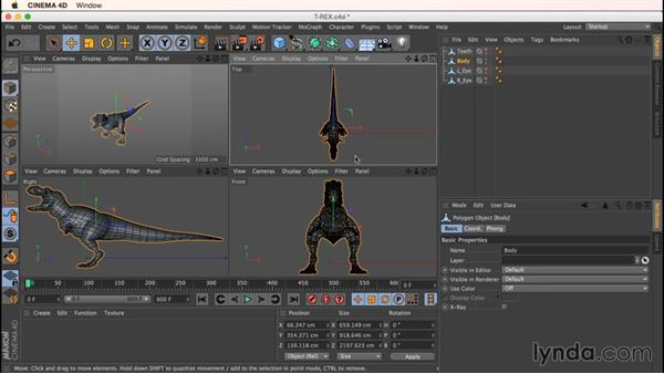 Preparing the dinosaur model for unwrapping: Up and Running with Bodypaint in CINEMA 4D