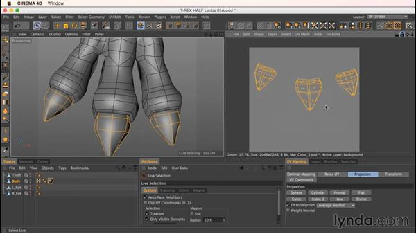 Unwrapping the dinosaur limbs: Up and Running with Bodypaint in CINEMA 4D