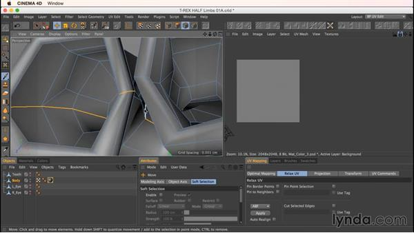 Unwrapping the dinosaur hands or claws: Up and Running with Bodypaint in CINEMA 4D