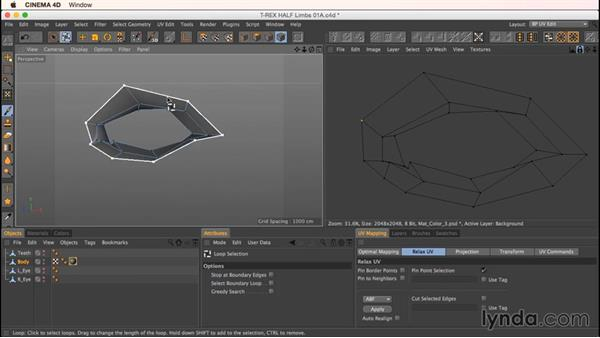 Unwrapping the mouth, nose, and eyes: Up and Running with Bodypaint in CINEMA 4D